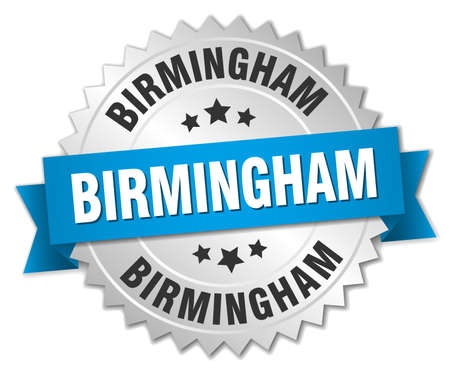 silver ribbon: Birmingham round silver badge with blue ribbon Illustration