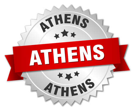 athens: Athens  round silver badge with red ribbon Illustration