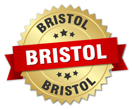 bristol: Bristol round golden badge with red ribbon