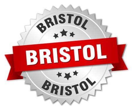bristol: Bristol  round silver badge with red ribbon