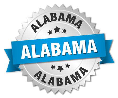 alabama: Alabama round silver badge with blue ribbon