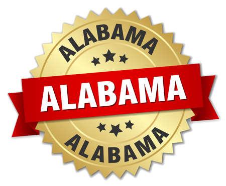 Alabama: Alabama round golden badge with red ribbon Illustration
