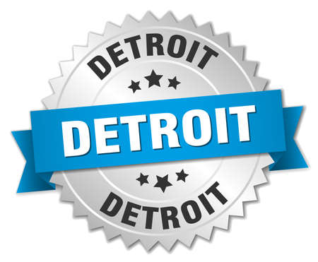 detroit: Detroit round silver badge with blue ribbon