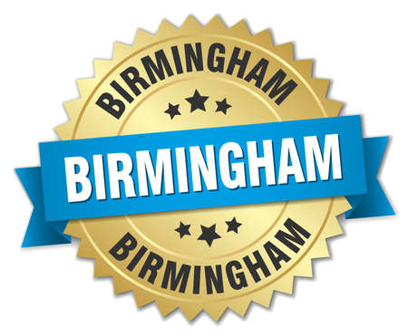 birmingham: Birmingham round golden badge with blue ribbon Illustration