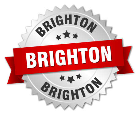 silver ribbon: Brighton  round silver badge with red ribbon