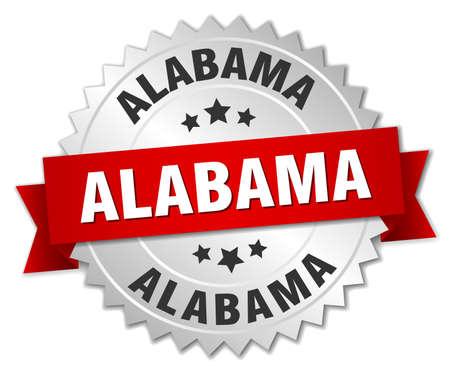 Alabama: Alabama  round silver badge with red ribbon