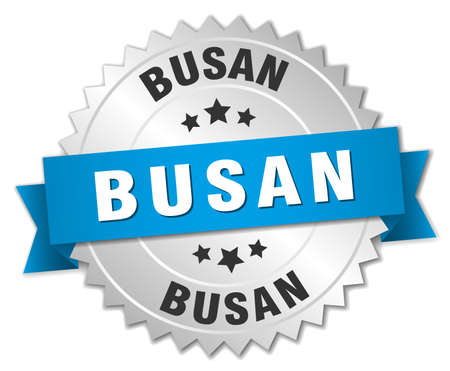 silvered: Busan round silver badge with blue ribbon Illustration