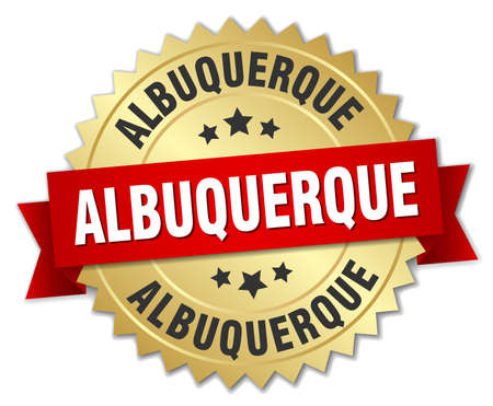 albuquerque: Albuquerque round golden badge with red ribbon Illustration