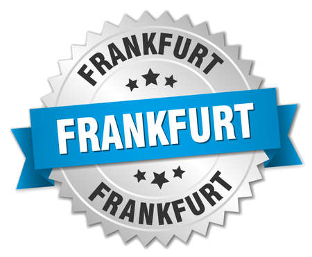 frankfurt: Frankfurt round silver badge with blue ribbon Illustration