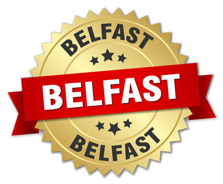 belfast: Belfast round golden badge with red ribbon Illustration