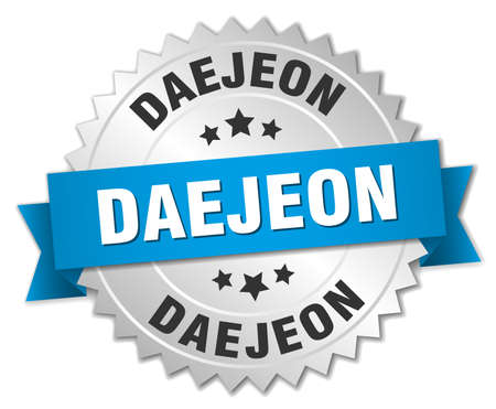 silvered: Daejeon round silver badge with blue ribbon