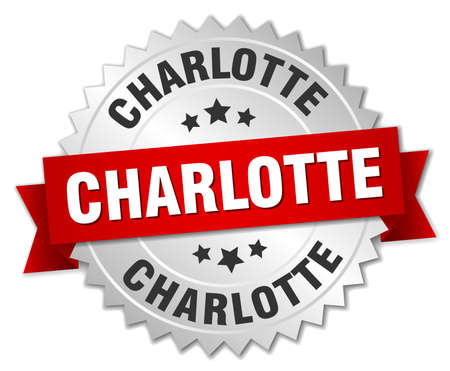 charlotte: Charlotte  round silver badge with red ribbon Illustration