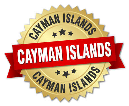 cayman islands: Cayman Islands round golden badge with red ribbon Illustration