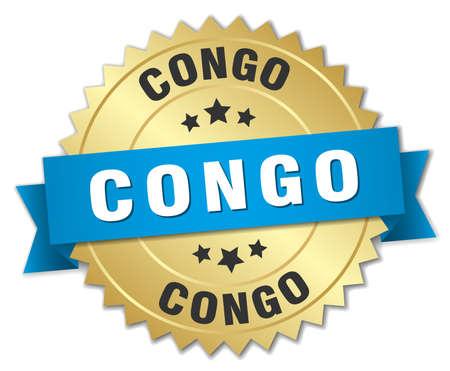 Congo: Congo round golden badge with blue ribbon