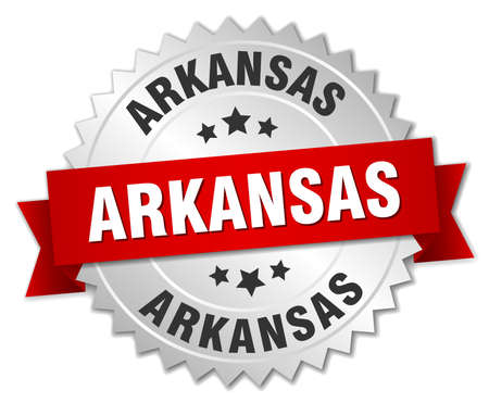 arkansas: Arkansas  round silver badge with red ribbon