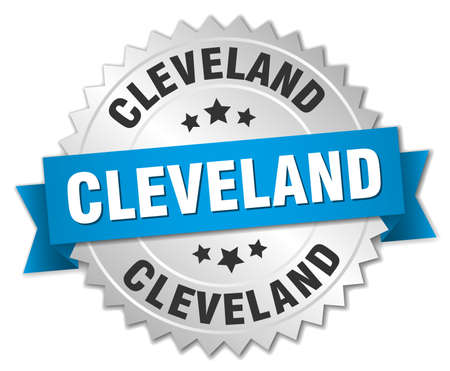 silvered: Cleveland round silver badge with blue ribbon