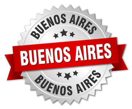 aires: Buenos Aires  round silver badge with red ribbon