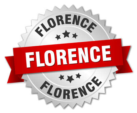 florence: Florence  round silver badge with red ribbon Illustration