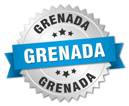 grenada: Grenada round silver badge with blue ribbon Illustration