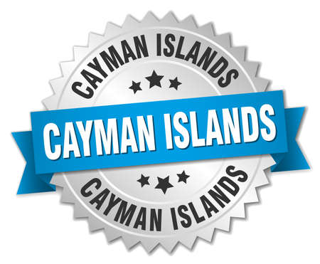 cayman islands: Cayman Islands round silver badge with blue ribbon