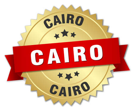 cairo: Cairo round golden badge with red ribbon Illustration