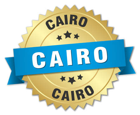 cairo: Cairo round golden badge with blue ribbon
