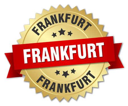 frankfurt: Frankfurt round golden badge with red ribbon