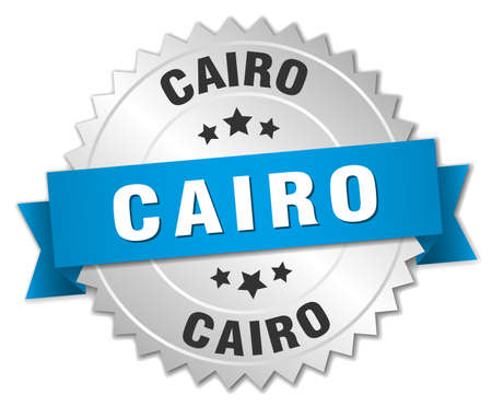 cairo: Cairo round silver badge with blue ribbon