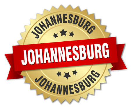 Johannesburg round golden badge with red ribbon