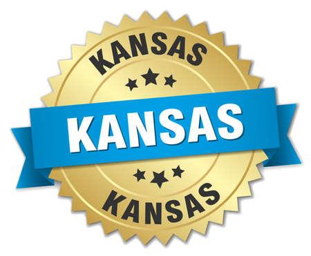 KANSAS: Kansas round golden badge with blue ribbon