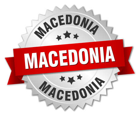 silver ribbon: Macedonia  round silver badge with red ribbon