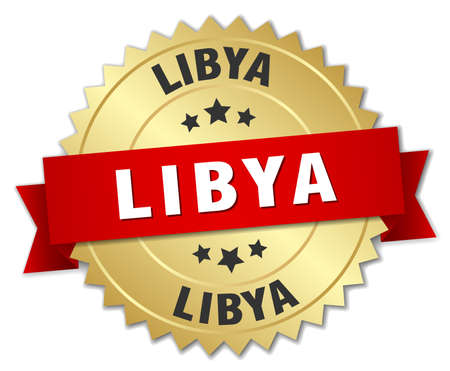 libya: Libya round golden badge with red ribbon