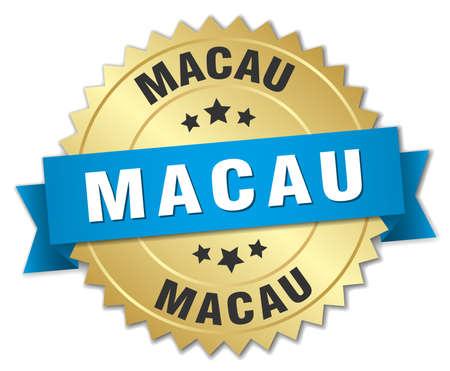 macau: Macau round golden badge with blue ribbon