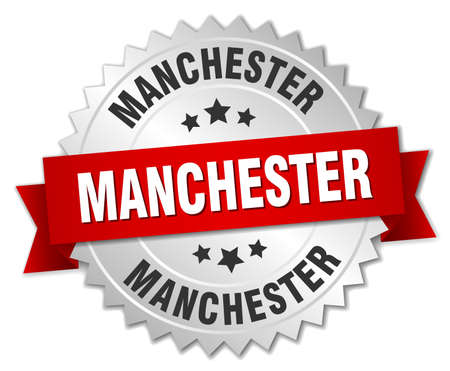 manchester: Manchester round silver badge with red ribbon