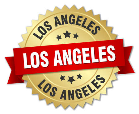 los angeles: Los Angeles round golden badge with red ribbon Illustration