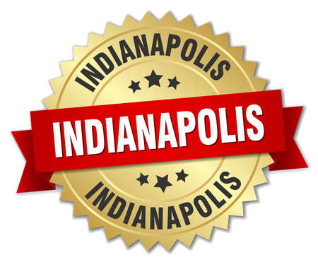 indianapolis: Indianapolis round golden badge with red ribbon