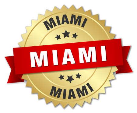 miami: Miami round golden badge with red ribbon