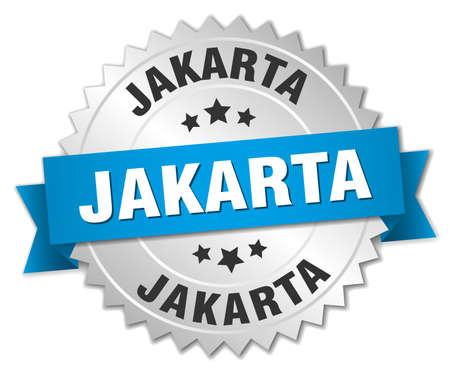jakarta: Jakarta round silver badge with blue ribbon