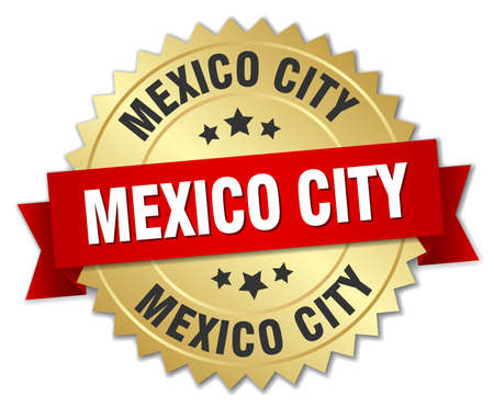 mexico city: Mexico City round golden badge with red ribbon