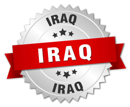 silver ribbon: Iraq round silver badge with red ribbon
