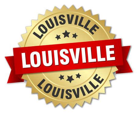 louisville: Louisville round golden badge with red ribbon
