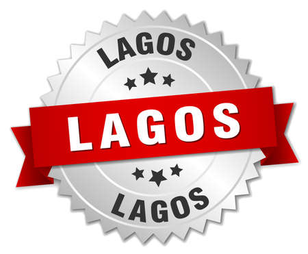 lagos: Lagos round silver badge with red ribbon Illustration