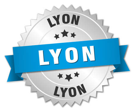 lyon: Lyon round silver badge with blue ribbon