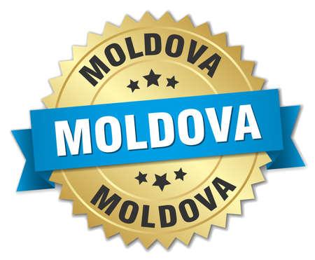 Moldova round golden badge with blue ribbon Illustration