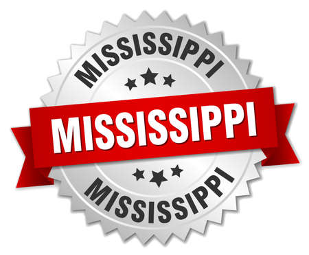 mississippi: Mississippi round silver badge with red ribbon