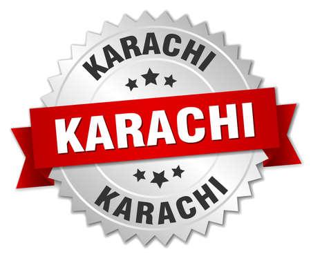 karachi: Karachi round silver badge with red ribbon