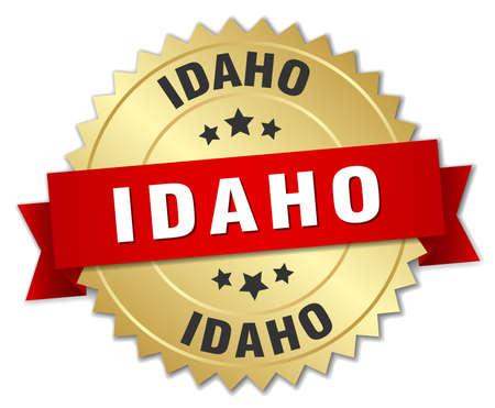 idaho: Idaho round golden badge with red ribbon