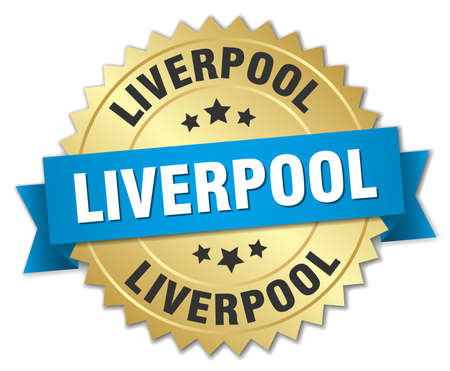 liverpool: Liverpool round golden badge with blue ribbon