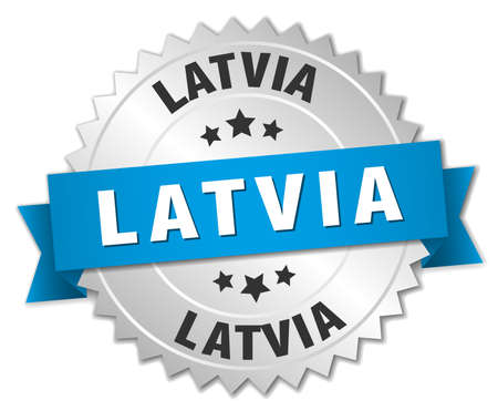 latvia: Latvia round silver badge with blue ribbon