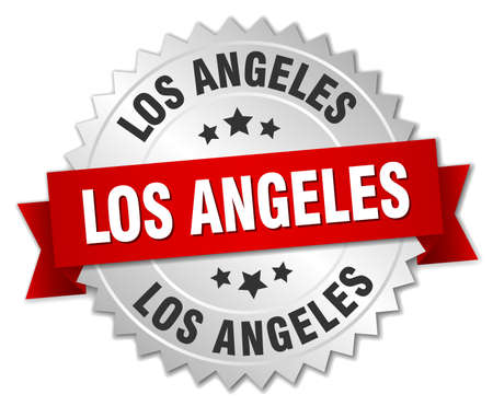 angeles: Los Angeles round silver badge with red ribbon